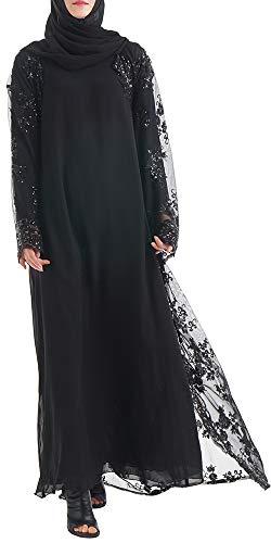 YI HENG MEI Damen Elegante Muslimische Islamische Funkeln Pailletten Reines Mesh Langarm Länge Abaya Kleid mit Gürtel Übergröße,Schwarz,Tag S Länge 137cm