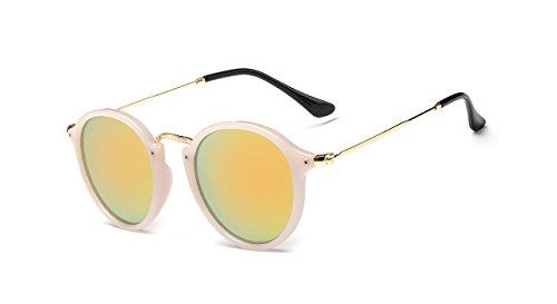 BOZEVON Retro runde Sonnenbrille Herren Damen Metall Eyewear Weiß-Silber