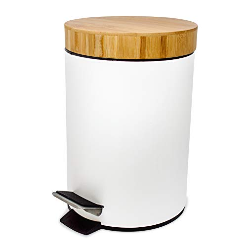 Kazai Kosmetik-Eimer 3 Liter | Design Treteimer mit Echtem Bambus Holz Deckel | Mülleimer für Bad, Toilette, Hotel und Restaurant | Pedaleimer weiß