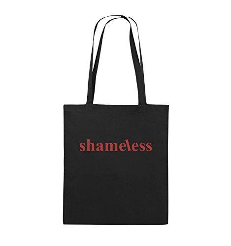 Comedy Bags - shameless - LOGO - Jutebeutel - lange Henkel - 38x42cm - Farbe: Schwarz / Silber Schwarz / Rot