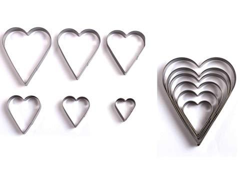 Ausstechformen Herz Herzen Plätzchenausstecher Set Weihnachten (Herzausstecher, 6 Größen, Keksausstecher, Keksform, Klein und Groß)