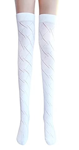 Ladies sexy white thigh high pelerine cotton stockings well above / over the knee socks (1 pair