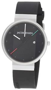 Jacob Jensen New Series 32732S - Reloj de caballero de cuarzo, correa de goma color negro (con fecha) de Jacob Jensen