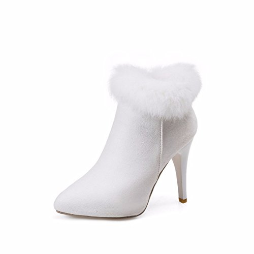 Plush Boots, Pointed Heels, Heels, Suede, Martin Boots,White,34 (White Stiefel Furry)