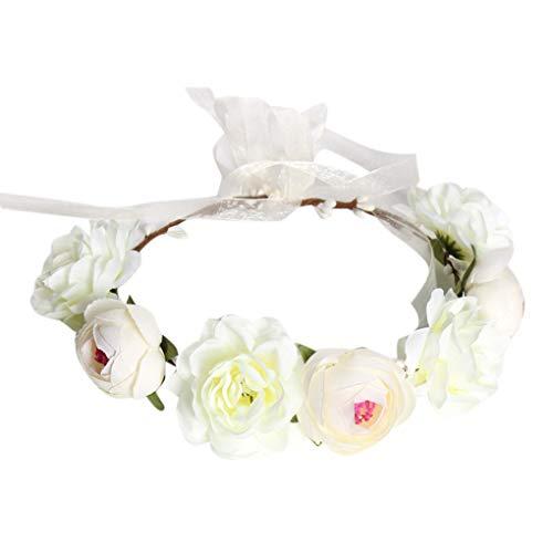 Babysbreath17 Frauen Boho Blumen-Stirnband Haarkranz Halo Blumengirlande Kopfstück für Hochzeit Feste Weiß 46cm