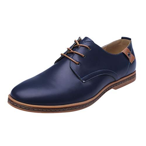 FNKDOR Schuhe Herren Runder Kopf Geschäft Freizeit Lederschuhe Berufsschuhe Weiches Leder Einfarbig Nähgarn Schnürsenkel Low-Top Business-Schuhe Blau 38 EU