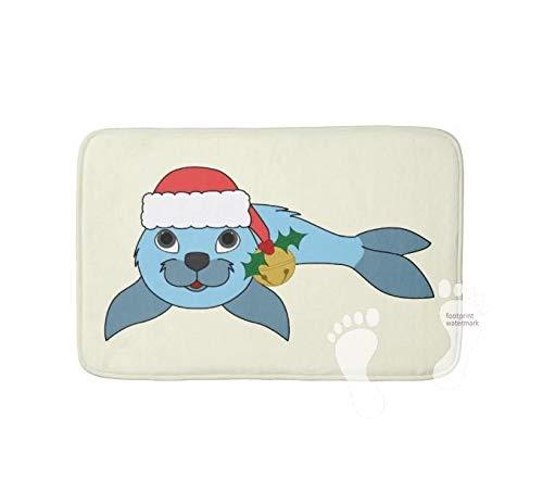Yang rutschfeste Badematte für Badezimmer, maschinenwaschbar, langlebig, weich, wasserabsorbierend, 75 x 45 cm, Hellblau mit Weihnachtsmann-Hut und goldenem Glöckchen