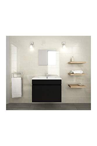 Générique Luna Ensemble de Meubles de Salle de Bain : Vasque + Miroir + Meuble sous-Vasque 60 cm - Noir Mat