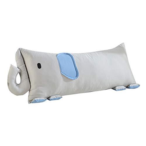 JAZC Cabecera Cabecero Tapizado Algodón Acolchado Trasero Cojín Elefante Lindo Sofá Bolsa Suave Cintura Protectora (Color : Blue, Size : 105X55CM)