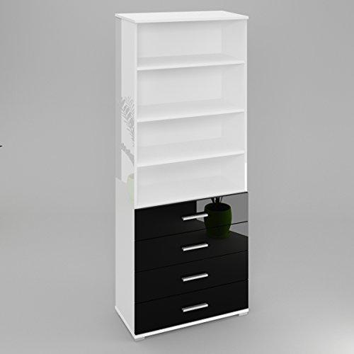 bibliotheque-eva-avec-4-tiroirs-le-corps-blanc-haute-brillance-le-front-noir-haute-brillance