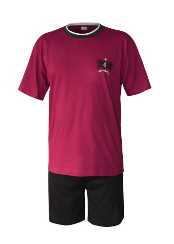 Herren Pyjama Schlafanzug kurz Herren Pyjama kurz Herren Shorty Schlafanzug aus 100% Baumwolle (XXL/58-60, oberteil rot/hose uni)