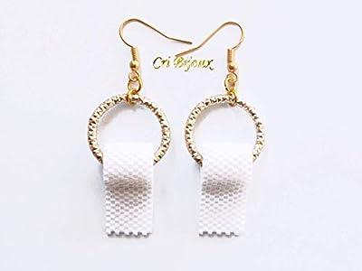 Boucles d'oreilles rouleau papier toilette dore cadeau drole et unique pour Noel pour femme