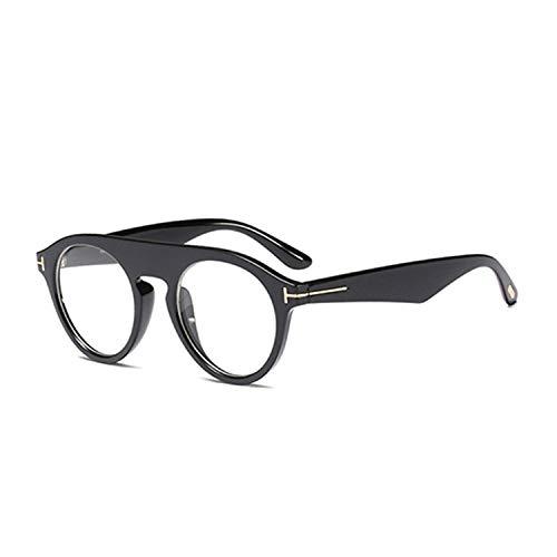 AOCCK Sonnenbrillen,Brillen, Round Steampunk Sunglasses Men NEW Cool New Fashion Unisex Brand Designer Women Sun Glasses Clear Eyewear For Outdoor UV400 C6 Glossyblack.Clear