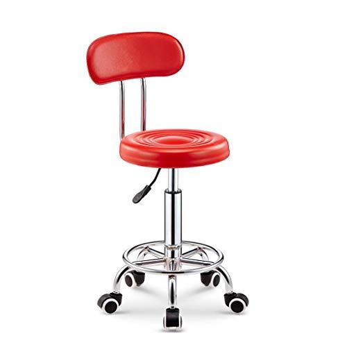 Zurück Bar Stuhl (QREDIAN Mode kreative zurück Barhocker, Bar Stuhl Hause hohen Stuhl runden Stuhl rotierenden Aufzug Schönheit Hocker Bürostuhl (Color : Red))
