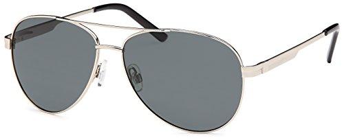 Feinzwirn Piloten-Sonnenbrille mit polarisierten Gläsern und Federscharnier in 2 Farben - im Set mit Zubehör (silber)