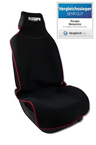 fixcape Neoprene, Vergleichssieger Autositzbezüge universal wasserdicht, Autositzbezug Schonbezug Sitzbezug Sitzauflage für das Auto Sitzbezüge Schonbezüge Autositz, Schwarz-Rot