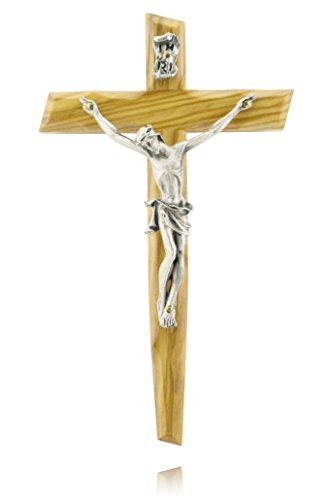 Olivenholz Holz-Kreuz Kruzifix Wandkreuz mit Jesus Christus-Figur INRI 17 cm