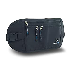 MountFlow Money Belt - RFID Travel Pouch - Hidden Festival Bumbag - Flat Secure Pouch - Black