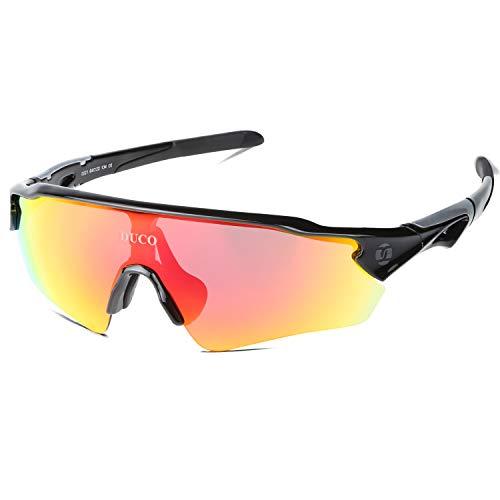 DUCO Radsportbrille Outdoor Sonnenbrille für Sportler polarisierte 5 austauschbare Gläser UV400 0021 (Schwarz)