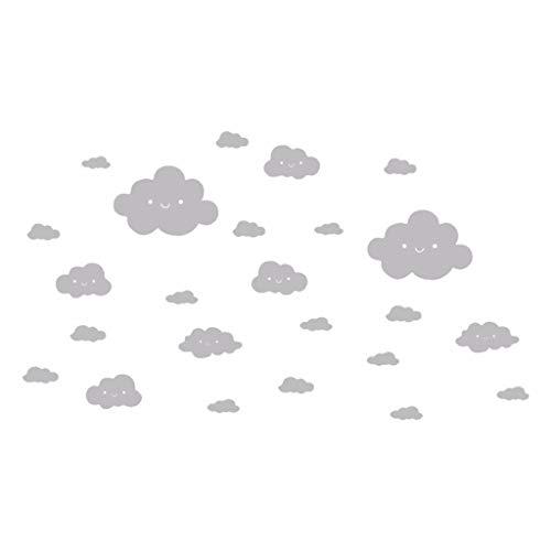 YWLINK 24 UNIDS DIY Cara Sonriente Nubes Blancas CalcomaníA De Vinilo Arte Etiqueta De La Pared DIY Home Room Decor ExtraíBle Decoracion De Pared De TV Dormitorio Infantil