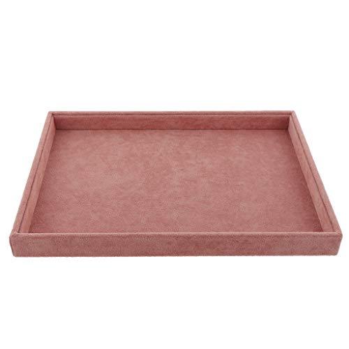 B Baosity 1 Stück Schmuckablage Aufbewahrungsbox Ohrringe Schmuck Samt Tablett 35x24x3 cm - 1