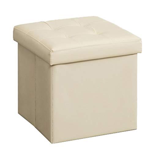 Praktische Fußbank Lagerung Osmanischen Cube Box Gepolsterte Fußstütze Hoch Elastische Schwammfüllung Platzsparend Einzel Hocker Sitz Max.120KG (38 × 38 × 38 cm)