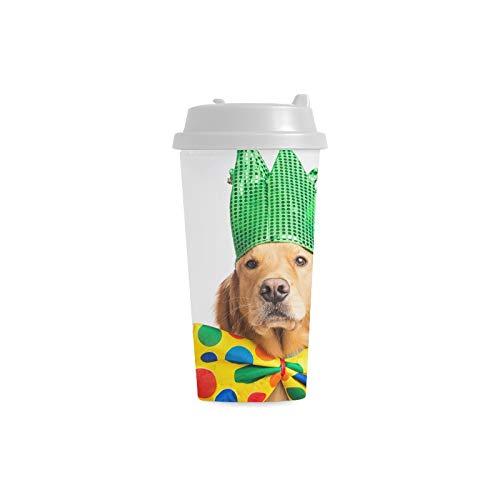 Nette glückliche Hundeabnutzungs Krawatten Gewohnheits 16 Unze doppelwandige Plastikisolierte Sport Wasser Flaschen Schalen Pendler Reise Kaffeetassen für Studenten Frauen Milch Teacup Getränk (Milch Kostüm Glas)
