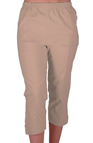 Beige Capri-hose (Cora Damen Stretch Capri Crop Shorts Capri-Hose Pants der Frauen 3/4 Dreiviertelhose Beige Gr. 46)