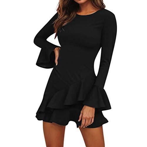 OHQ Robe à Manches Longues Volants pour Femmes Noir Casual Loose Ruffley Mini Dress Grande Taille Chic Boheme Blanche Manche Pas Cher Coton Courte (Noir, M)