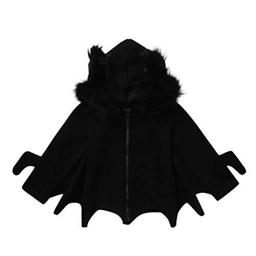 DIASTR Kinder Halloween Kostüm Mädchen Jungen Vampire Bat Flügel Kleider Black Fledermausflügel Ärmel mit Kapuze Cape Cosplay Partei Kostüm 1-6 Jahre - Top 2 Jahre Alt Kostüm