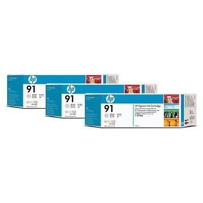 C9482A - HP 91 Tintenpatrone/grau hell (775 ml)/ 3-Pack mit Vivera Tinte INK CARTRIDGE LIGHT GREY 3PACK -