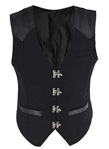 Bslingerie® Herren Steampunk Jahrgang Gothic Kostüm Weste (Schwarz, XXXL) (Weste Kostüm Schwarze)