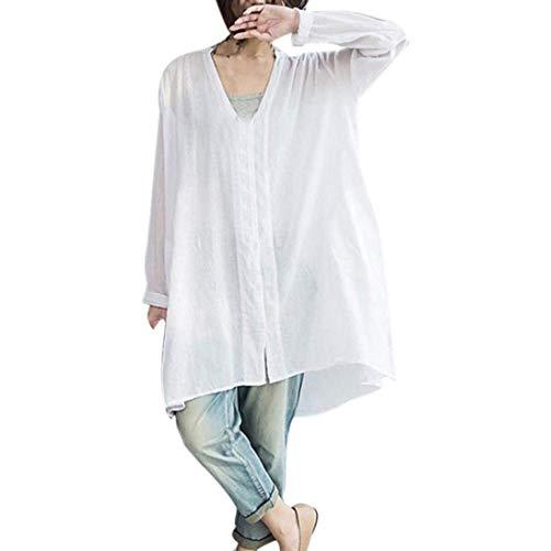 (Fuxitoggo Damenmode mit V-Ausschnitt Langarm Baumwolle beiläufige lose große Größe Plus Größe Hemd Bluse Taste Tops (Farbe : Weiß, Größe : XX-Large))