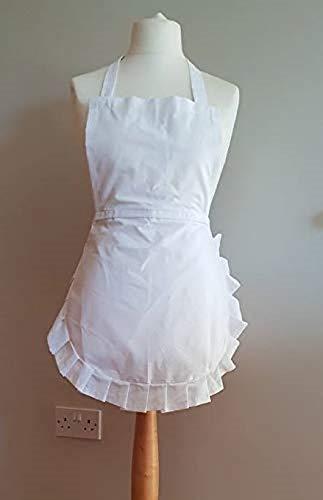 Alice Wunderland Kostüm Schürze Weiße - SPARKLES Alice in Wonder, weiße Schürze, weiße Ränder mit Rüschen, für Erwachsene, Edwardian, viktorianisches Kleid, Kellnerin