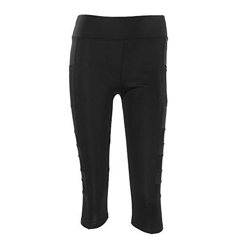 Hohe Taillen Yoga Hosen, 3/4 Frauen Sport Stretch Bodybuilding Yoga Leggings Hosen mit Tasche für Telefon Geldkarten und Schlüssel beim Laufen Fitness-Übungen(S) -
