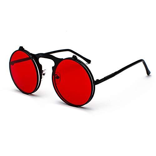 HUWAIYUNDONG Sonnenbrillen,Vintage Steampunk Flip Design Sunglasses Retro Round Metal Frame for Men Women Circle Glasses BlackRed