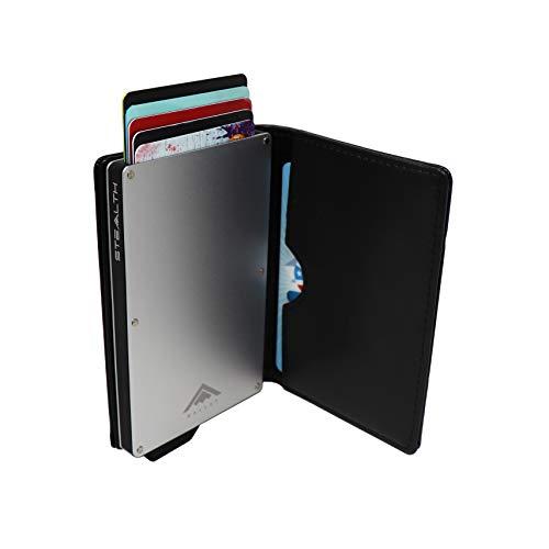 STEALTH Wallet | Titolare della carta di credito Ejector di alluminio minimalista con blocco RFID e scatola regalo (Argento con pelle nera)