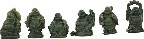 Buddha - Set, Jadeoptik, Jadegrün, Happy Buddha, Glücksbuddha, China