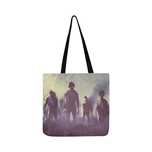 (Erschrockene gruselige Zombie Canvas Tote Handtasche Umhängetasche Crossbody Taschen Geldbörsen für Männer und Frauen Einkaufstasche)