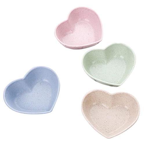 Nette Liebe Herzform Weizenstroh Schalen Essig Gewürz Solide Soja Gerichte Sauce Salz Snack Kleine Teller Küche Liefert (Rosa/Blau/Beige/Grün) ()