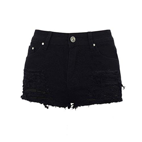 Sentao donna vintage vita alta jeans shorts pantaloncini corti strappati denim shorts (nero, asia l)