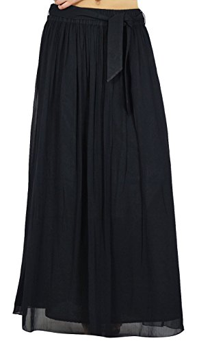 Tulip Rock (Bimba Frauen Long Black Maxi Rock Tulip Art Georgette Boho Bottoms)