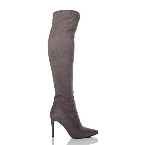 Femmes talon haut au-dessus du genou élastique bottes pointues cuissardes pointure Daim gris