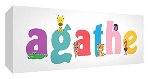 Preisvergleich Produktbild Little Helper Leinwand Box Galerie verpackt mit farbigem Front Panel illustrativen Stil mit dem Namen Mädchenname Agathe 15x 42x 3cm kleine