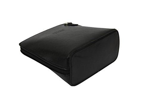 AMBRA Moda - Borsa di pelle a tracolla Donna, borsa piccolo Nero