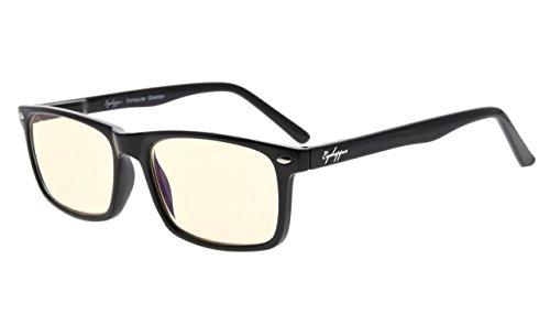 Eyekepper lectores UV proteccion, anti reflejante ojogafas,Anti azul rayos, primavera amarillo tenido lentes bisagras computadora lectores gafas negro +0.5