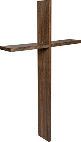 Wandkreuz schlicht aus Echtholz Nuss | Kruzifix 40 x 25 x 5 cm | Holz-Kreuz Nuss massiv mit Tiefenwirkung