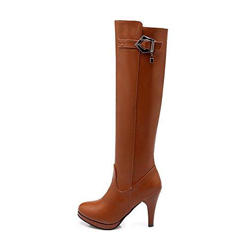 AgooLar Damen Rund Zehe Blend-Materialien Hoch-Spitze Hoher Absatz Stiefel Gelb-Schnalle