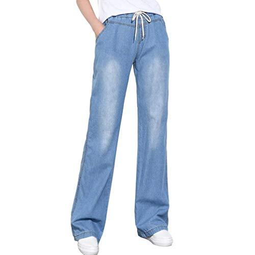 Damen Beiläufige Ohne Dehnung Gerade Flare Kick Denim Hose Elastische Elegant Taille Weites Bein Ausgestellte Jeans (Color : Hellblau, Size : 3XL) Hose Flare Jeans