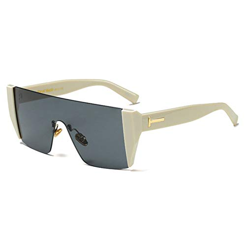 Siwen Half Frame Frauen Platz Sonnenbrille männer rot getönte linse Brille,Beige Schwarz